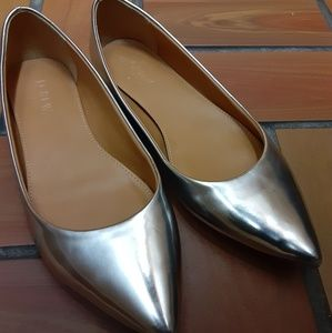 J Crew Metallic Pointed Flats